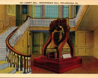Philadelphia, Pennsylvania, Liberty Bell, Independence Hall - Linen Postcard - Postcard - Unused (FFF)