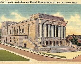 Worcester, Massachusetts, Worcester Memorial Auditorium, Central Congregational Church - Vintage Postcard - Linen Postcard - Unused (TTT)