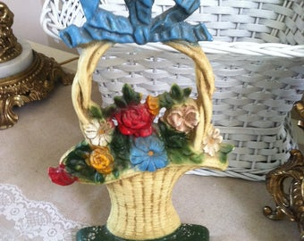 Basket doorstop John Wright vintage flower basket doorstop Donsco Inc numbered 1 shabby floral basket doorstop blue ribbon accent Victorian