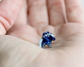 OOAK Tiny miniature clay unicorn - galaxy blue and silver