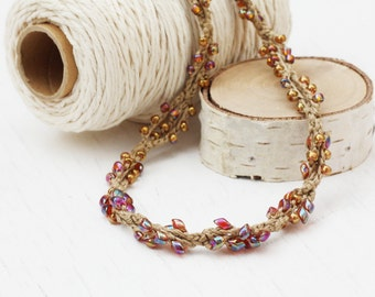 Crochet beaded necklace Natural linen jewelry with rainbow and gold glass beads Boho chic Spring fashion Summer Gift for her Casual jewelry