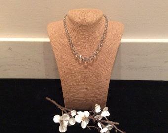 Vintage Art Deco Clear Crystal Graduated Bead Necklace, Vintage Jewelry, Vintage Crystal Beaded Necklace, Bridal Necklace, Wedding Jewelry