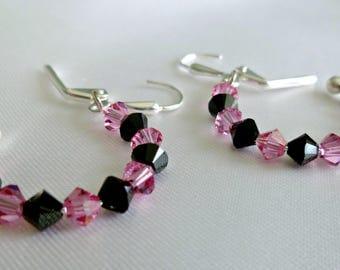Sparkling pink & black Swarovski crystal hoop earrings on memory wire, gifts for her, statement earrings