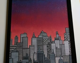"Original Framed Spray Paint and Marker Drawing ""Business To Attend To"" Cityscape"