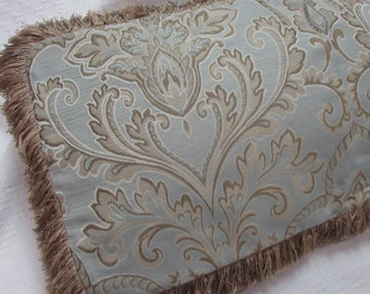 Fringed Pillow mineral blue/beige and cream Pillow Cover damask  design fabric