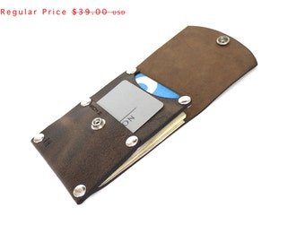 Slim Card Wallet in Distressed Brown Leather, minimal credit card wallet, snap closure, front pocket wallet