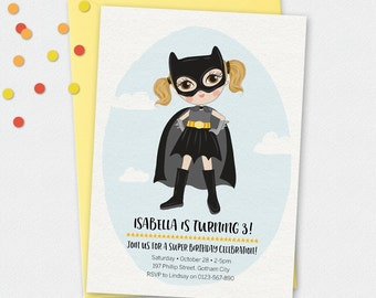 Batgirl Invitation, birthday invitation, kids invitation, Custom invitation, party invitation, superhero invitation, girl superhero
