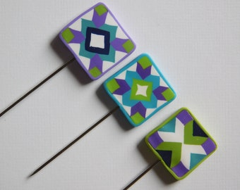 Decorative Polymer Clay T pins, set of 3 Quilt Block Pins