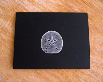 Sand Dollar Cards, Ocean Inspired Stationery, Black and White Cards, Handstamped Greeting Cards, Black Cards and White Envelopes