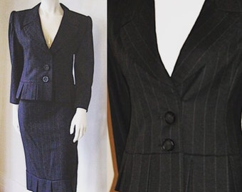 Vintage 1980s Galanos Designer Charcoal Gray Pinstripe Skirt Suit with Pleat Detail on Jacket and Skirt