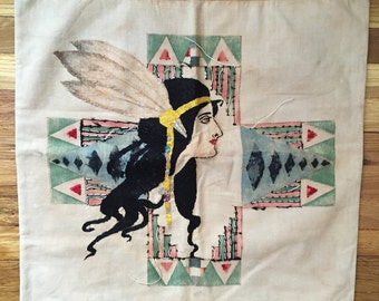 Native art deco hand dyed and stiched pillowcase 1930's