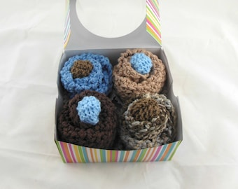 Baby Cupcakes in Blue & Brown-Set of 4 Knit Washcloths, 2 Sets of Newborn Booties