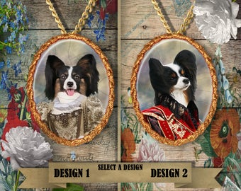 Papillon Jewelry. Papillon Pendant or Brooch. Papillon Necklace. Papillon Portrait. Custom Dog Jewelry by Nobility Dogs.Dog Handmade Jewelry