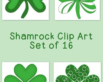 Shamrock Clip Art Bundle Spring March St. Patrick's Day PNG JPG Blackline Commercial Personal Hand Drawn Line Art
