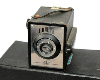 Vintage Tower Camera with Case Manuals Flash Unit , Retro Box Camera Sold by Sears , Old Sears Camera , Vintage 50s Camera