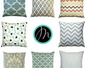 CLEARANCE Blue Pillow Case, Village Blue Pillow Cover, 16x16 Zippered Pillow, Spa Blue Cushion Cover, Blue Sofa Pillows, Blue Throw Pillow