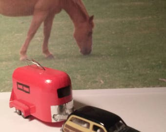 Horse trailer ornaments for the holidays or hang from your rear view mirror.