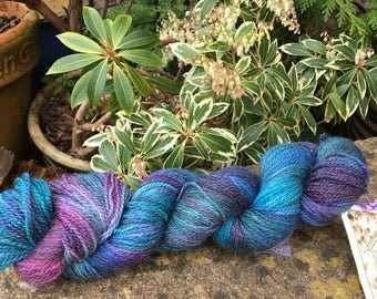 """100 gms hand painted bfl/silk fingering weight yarn. """" lavenders blue"""