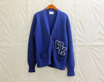 Vintage Cheer Varsity Sweater Cardigan WK Cheerleader Blue white Megaphone Patch Briston Products BPC
