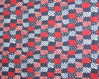 """Vintage American Flag Print Cotton Fabric, Red White and Blue, Patriotic Check Print, Fabric Yardage 1 yd x 42"""""""