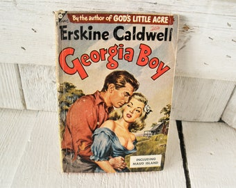 Vintage pulp fiction novel book Georgia Boy by Erskine Caldwell 1947 retro color cover paperback