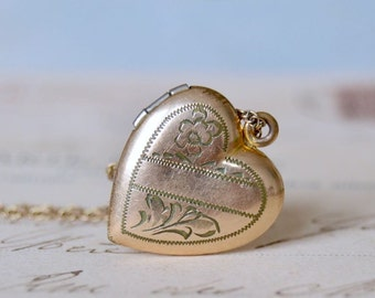12K GF Vintage Heart Locket Necklace