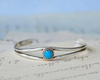 Native American Sterling and Turquoise Baby Bracelet