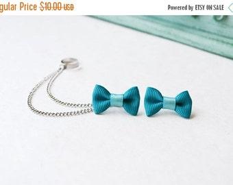 SALE Mini Aquamarine Bow Chain Ear Cuff (Pair)