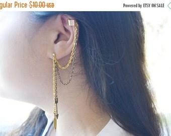 SALE Feather and Arrow Gold Ear Cuff (Pair), Feather Earrings, Arrow Ear Cuff, Arrow Cartilage Earring, Chain Arrow Ear Chain Earrings, Ear