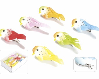 Artificial Birds with Real Feather Tail Set of 6 Assorted
