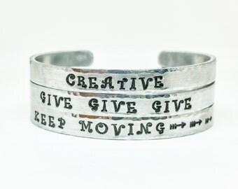 Custom Cuff Bracelet - Personalized Silver Cuff Bracelet - You Choose Text / Design - 1/4 Inch Engraved Cuff Bracelet - Silver Stamped Cuff