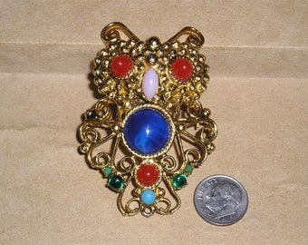 Vintage Owl Brooch With Multicolored Glass Accents 1960's Jewelry 2082