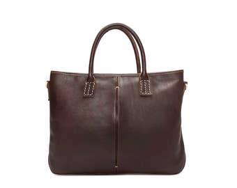 Dark brown leather briefcase