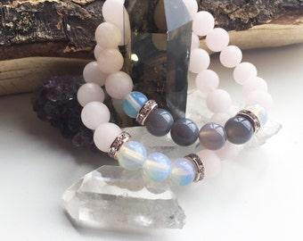 Rose Quartz love bracelet set