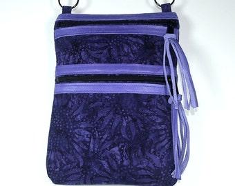 """Batik Crossbody Bag/ Front Zippered Pocket/ 9 1/2"""" x 7""""/ Adjustable Black Poly Strap/ Leather Trim and Tassels"""