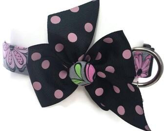 Grey and Pink Floral Dog Collar size Medium