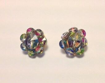 Rainbow Rivoli Bead Retro Clip Earrings Multicolor Dazzle