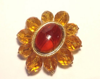 Vintage Amber and Amber Faceted Glass Bead Brooch Vintage Mexico