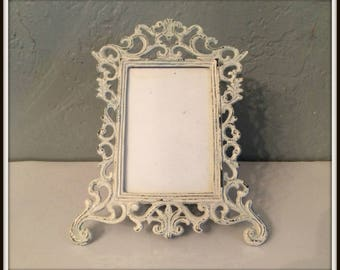 "Upcycled Vintage Ornate Metal Filigree Picture Frame ~ 3"" x 5"" ~ Shabby Chic Heirloom White ~ Distressed ~ Paris Apartment ~ Country Cottage"