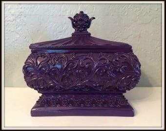 Upcycled Purple Jewelry Box ~ Trinket Box ~ Ornate Jewelry Box ~ Teen Age Jewelry Box ~ Girl's Bedroom Decor ~ Vintage Jewelry Box