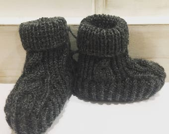 Hand knitted Cable Booties - Charcoal