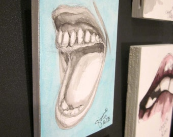 Happy III, No. 278, Original Artwork, Artblock, Acrylic painting, Gift Ideas, Lt Blue and Gray, Lips Series, Lips,Decor, Artwork, Decoration