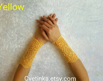 YELLOW LACE CUFFS   Lace Bridal Gloves   Lace Yellow Cuffs   Lace Accessories   Boho Bracelets   Festival Outfit 2017   Lace Bracelets