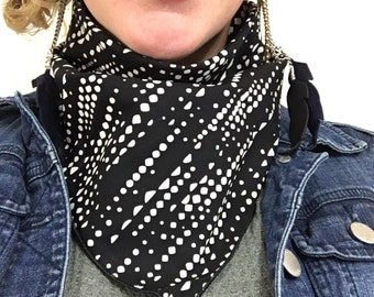 Batik Dots Black and White Bandana // Handkerchief // Music Festival // Burningman // Dust Mask