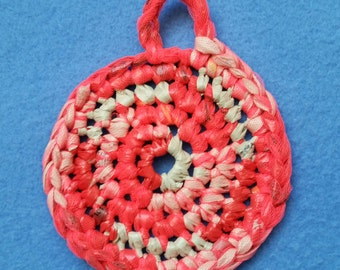 Flourescent Red and Tan Plarn Dish Scrubby, recycled Wawa and Weis plastic bags