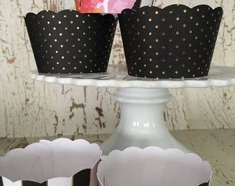 Black and Gold Floral Cupcake Wrappers
