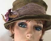 Very unusual khaki green straw hat special for Paula