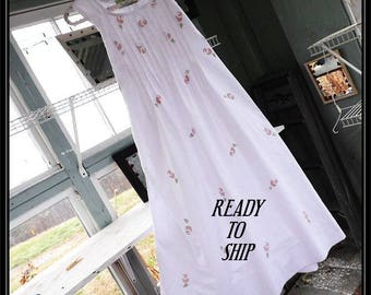 Free shipping in US-Small-Angelic,SleevelessCotton Nightgown,Handmade,Vintage Fabric, PinTucked, Waltz Length
