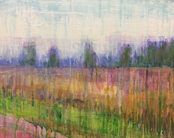 """Original Acrylic Expressionist Landscape Painting 11x14 """"The Wheat Field"""""""