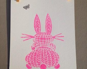 Lino Print - Limited Edition -A4 Linocut -Titled Bunny -relief print -Rabbit print - linoleum print on acid free paper.